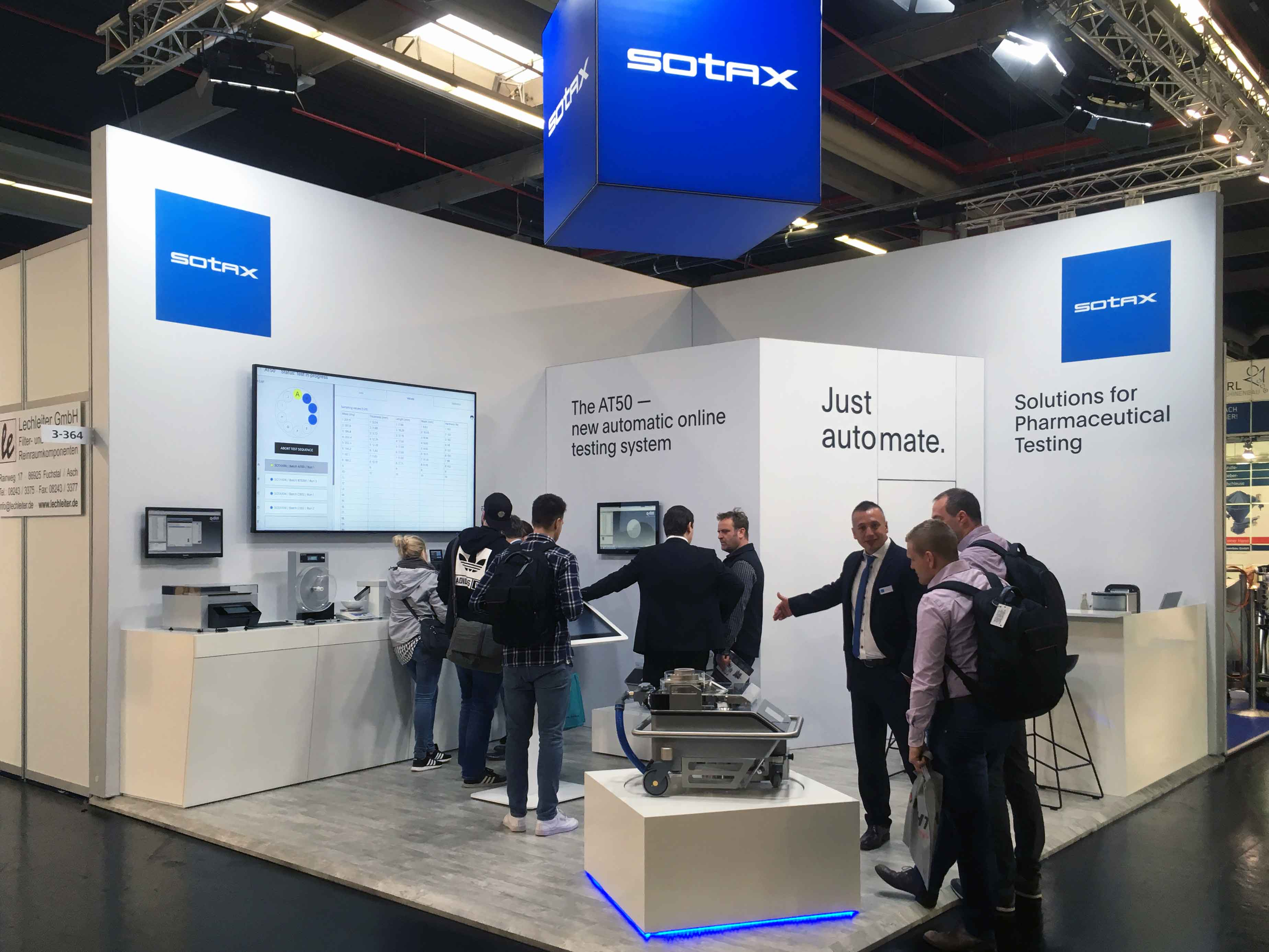 SOTAX booth with new AT50 tablet hardness tester at Powtech 2019 exhibition